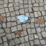 Máscara na calçada com folhas de outono